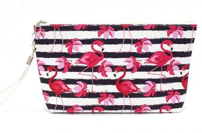 Make-up tas flamingo stripes