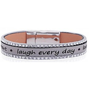Mooie armband Laugh every day (grijs)